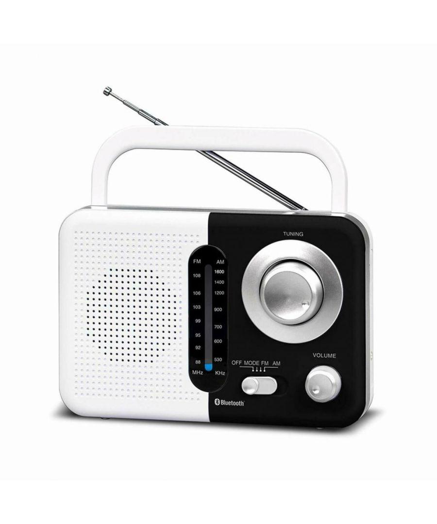 Image for Soundz SZ412 AM/FM Portable Bluetooth Radio With USB Port And SD Card Slot White & Black