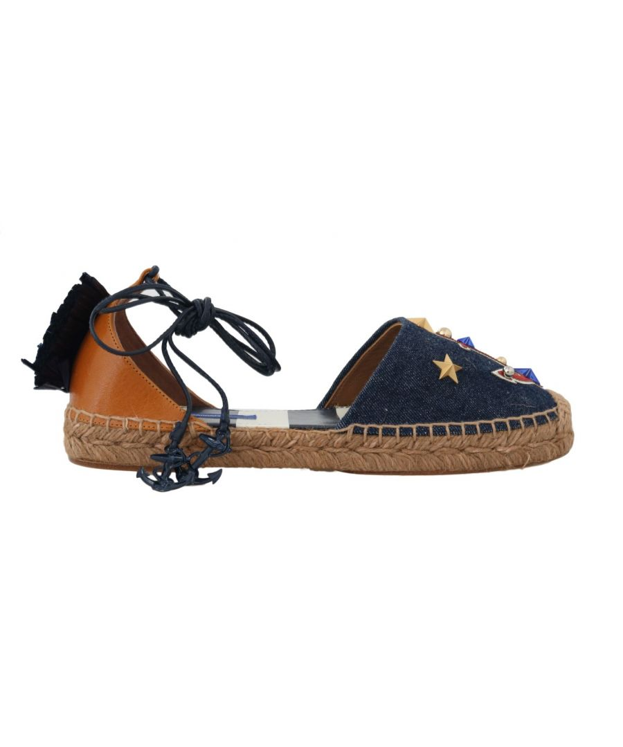 Image for Dolce & Gabbana Blue Denim Leather Espadrilles Shoes