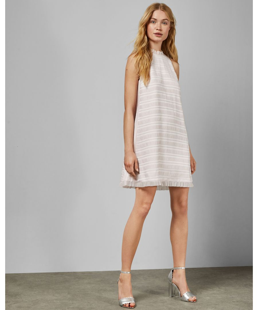 Image for Ted Baker Kinthia Pleated Ruffle Detail Sleeveless Dress, Nude Pink