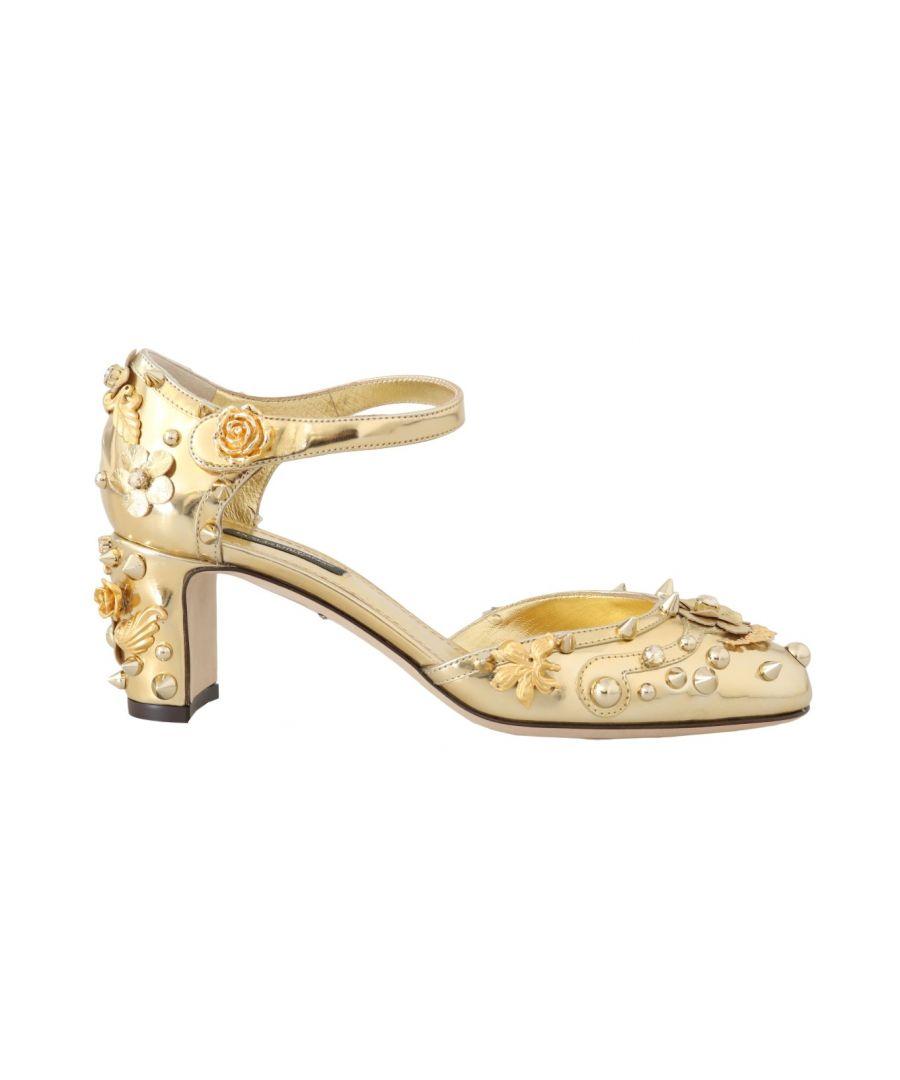 Image for Dolce & Gabbana Gold Leather Floral Studded Pumps