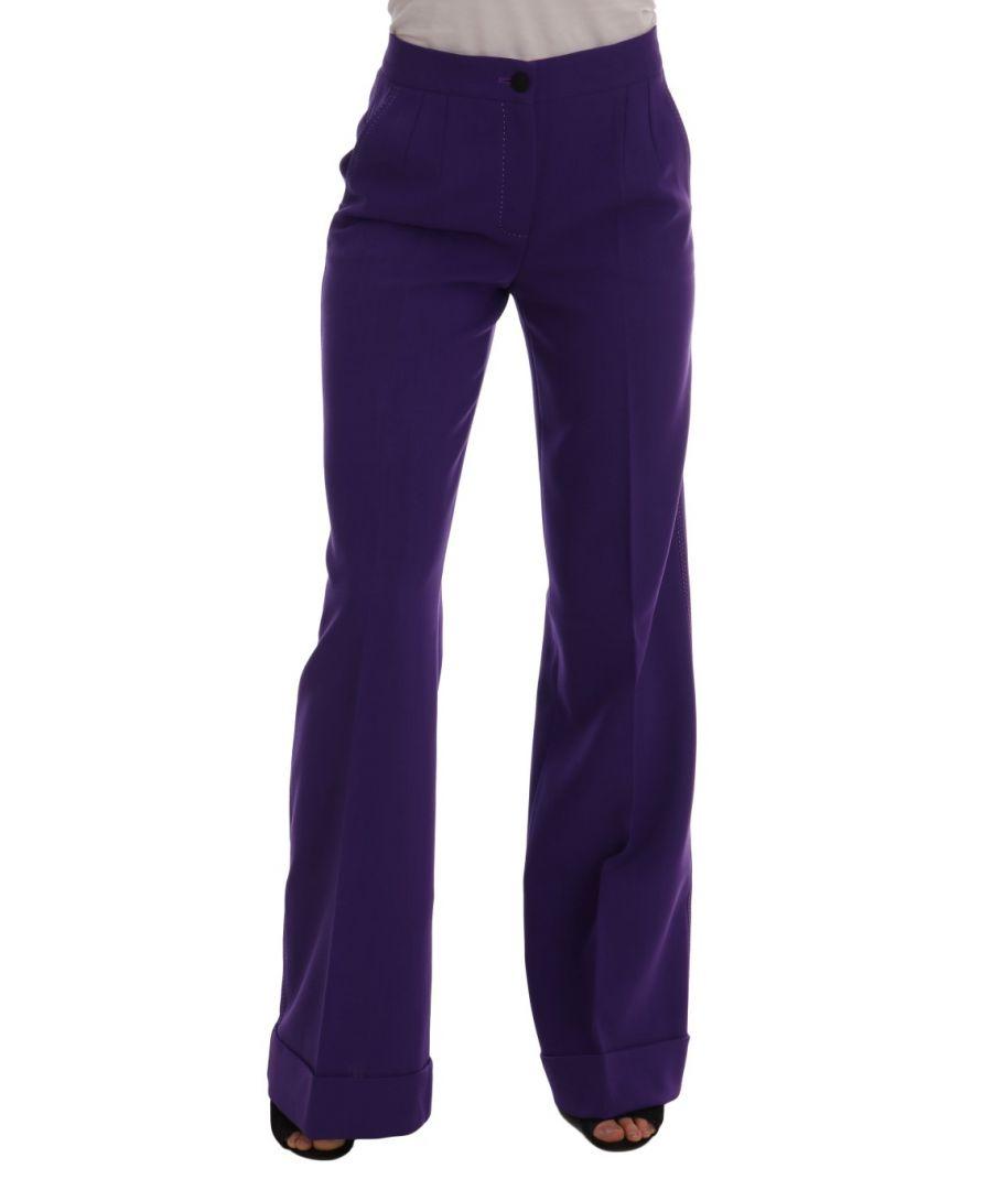 Image for Dolce & Gabbana Purple Wool Flare Pants
