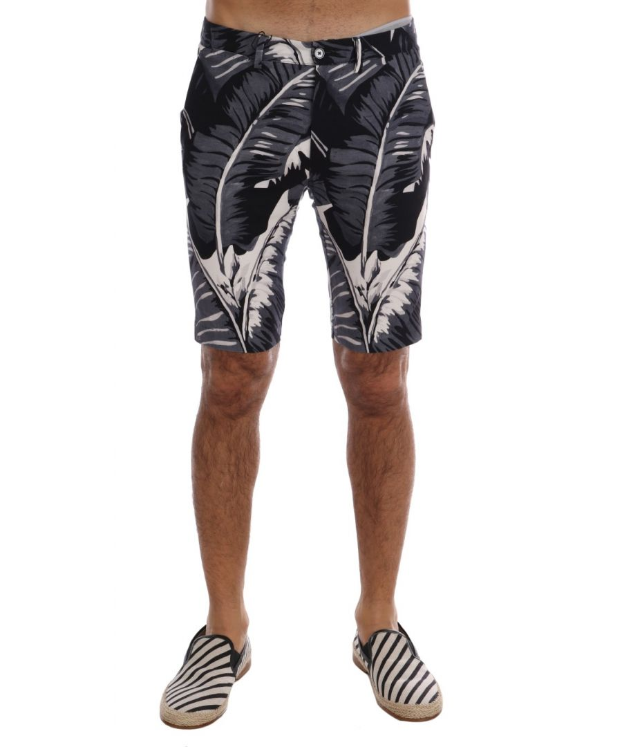 Image for Dolce & Gabbana Gray Banana Leaf Print Cotton Shorts