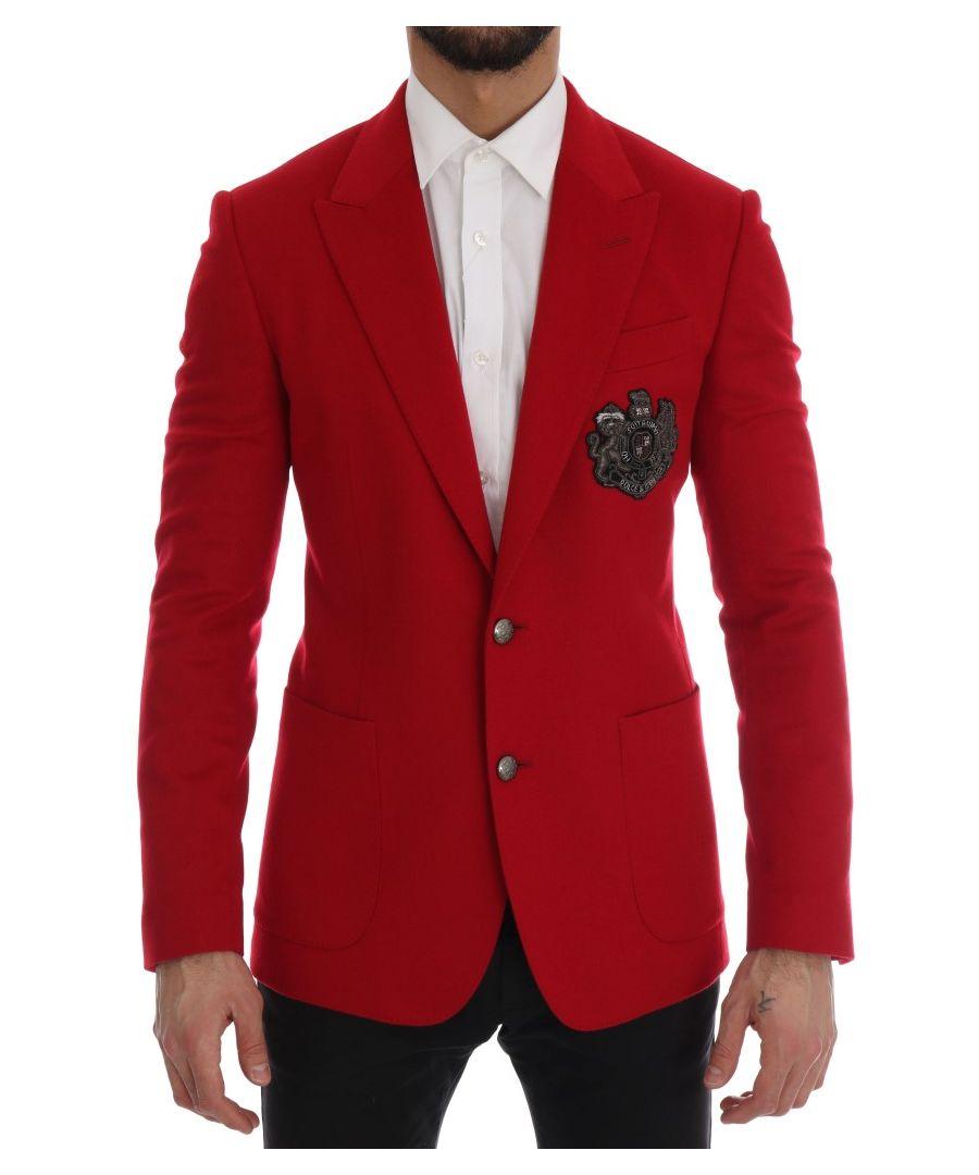 Image for Dolce & Gabbana Red Cashmere Slim Fit Blazer