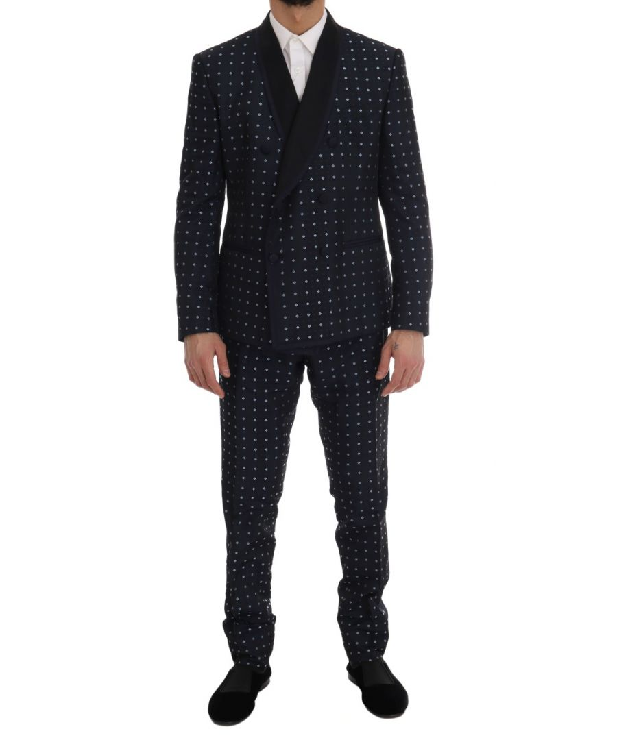 Image for Dolce & Gabbana Blue Silk Double Breasted 3 Piece Suit