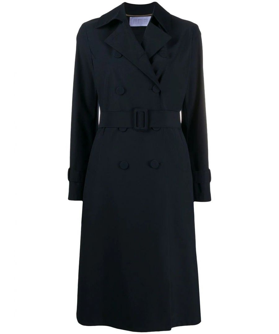 Image for HARRIS WHARF LONDON WOMEN'S A1489PYZ359 BLUE POLYESTER TRENCH COAT