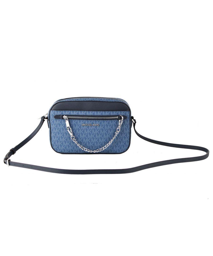 Image for Michael Kors Jet Set Item Large East West Saffiano Leather Zip Chain Crossbody Handbag (Dark Chambray Multi Signature/Silver)