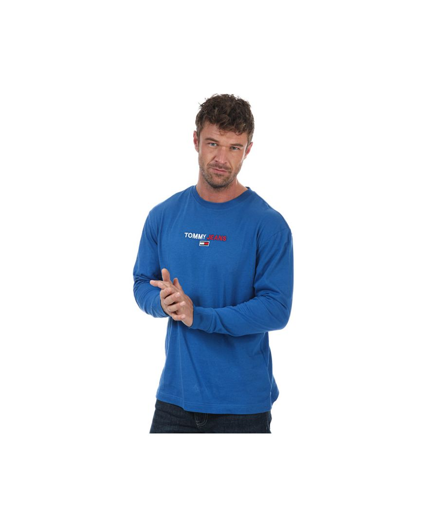 Image for Men's Tommy Hilfiger Contrast Linear Logo Long Sleeve  T-Shirt in Blue