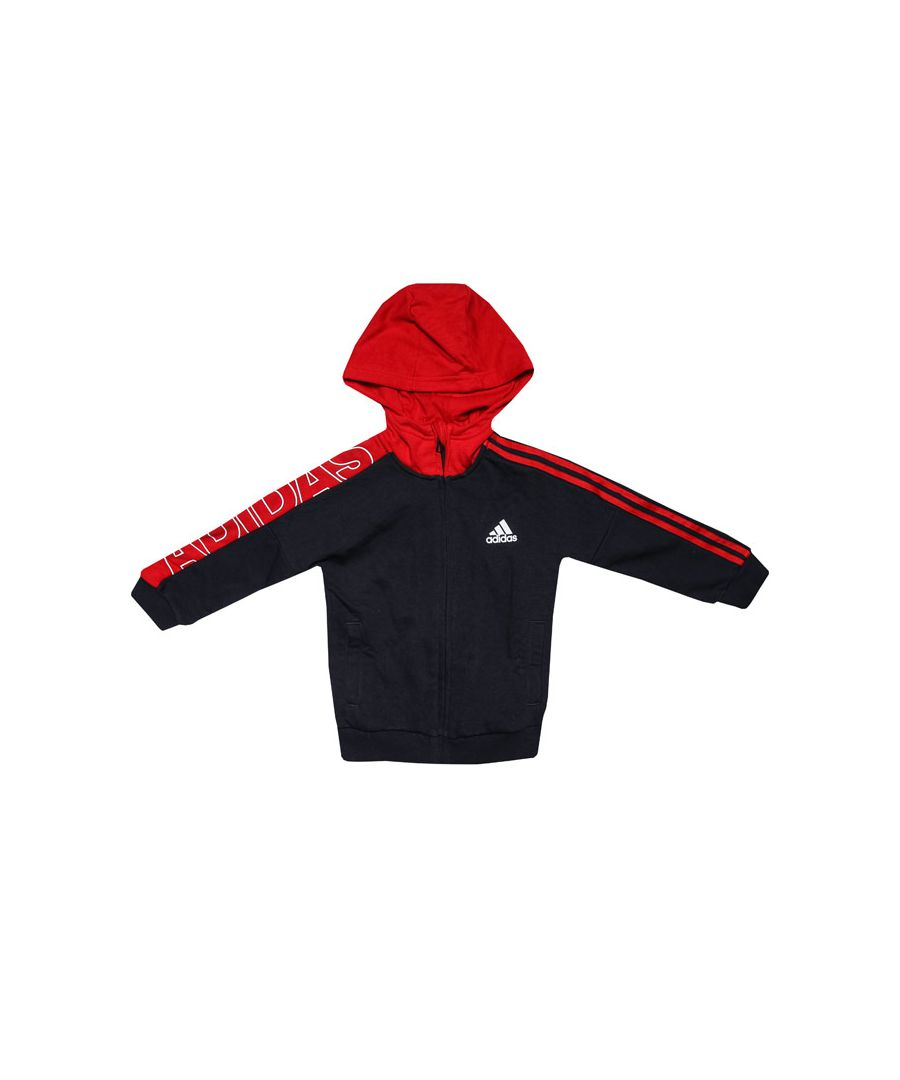 Image for Boys' adidas Infant Branded Knit Jacket Navy Red 5-6in Navy Red