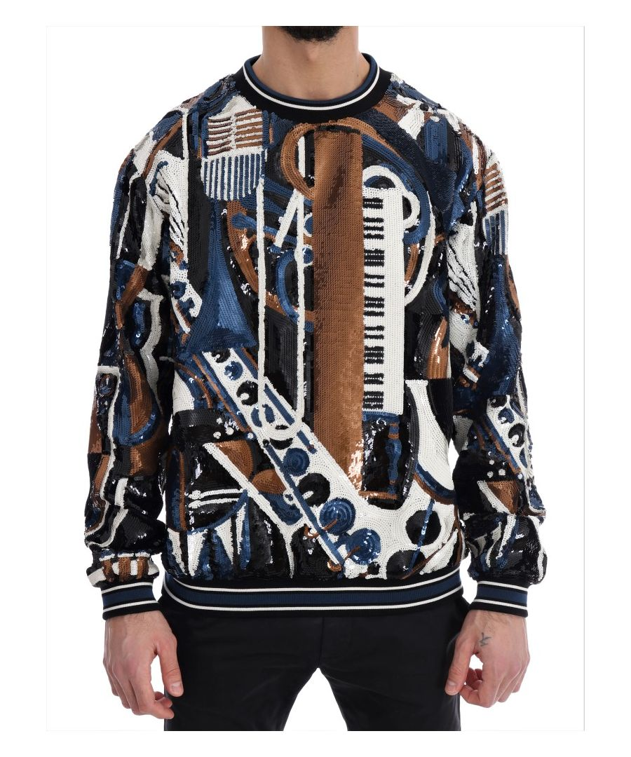 Image for Dolce & Gabbana Multicolor Jazz Sequined Runway Pullover Sweater