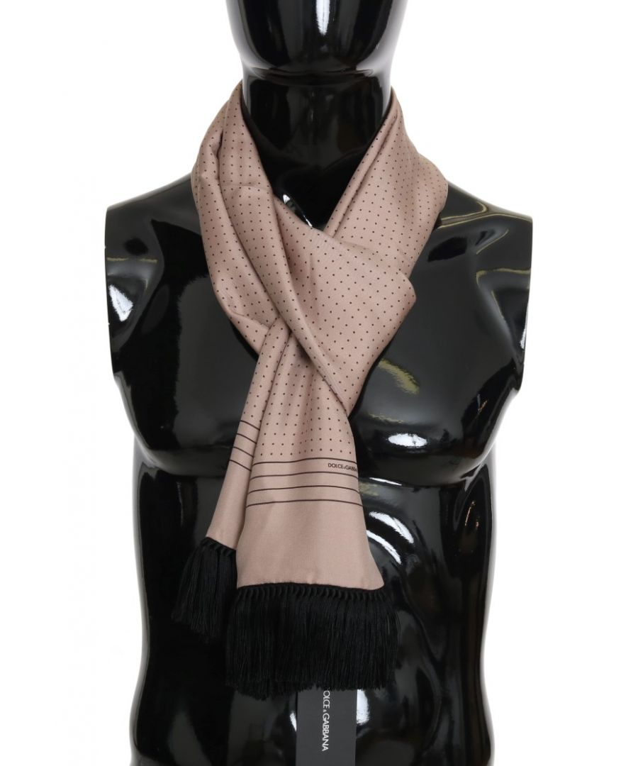 Image for Dolce & Gabbana Pink Polka Dotted Silk Fringes Scarf