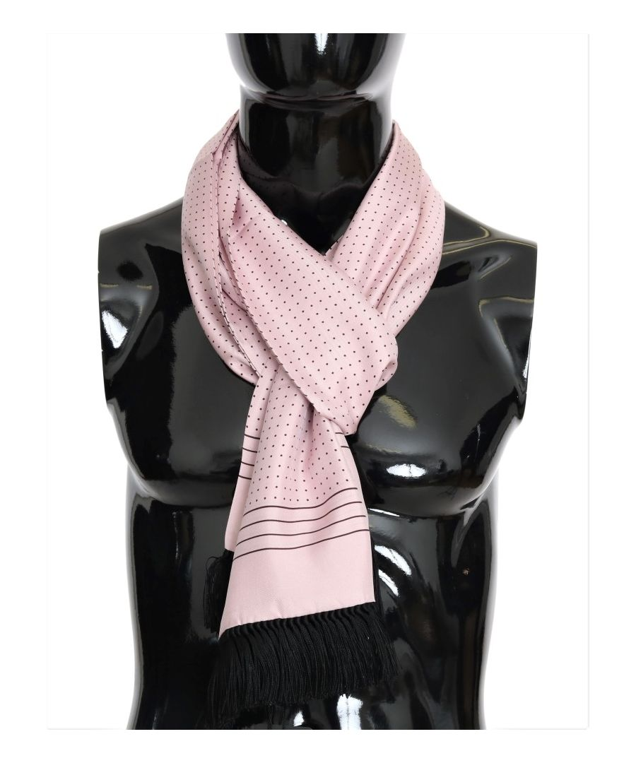 Image for Dolce & Gabbana Pink Polka Dotted Silk Fringes Scarf