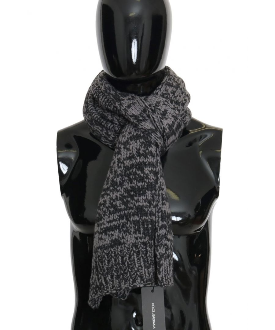 Image for Dolce & Gabbana Black Gray Cashmere Patterned Scarf