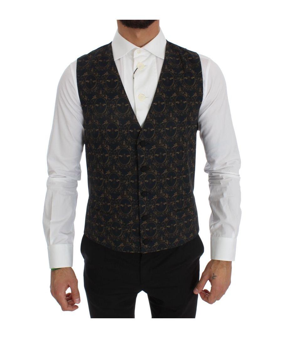 Image for Dolce & Gabbana Blue Wool Blend Crown Bee Formal Vest