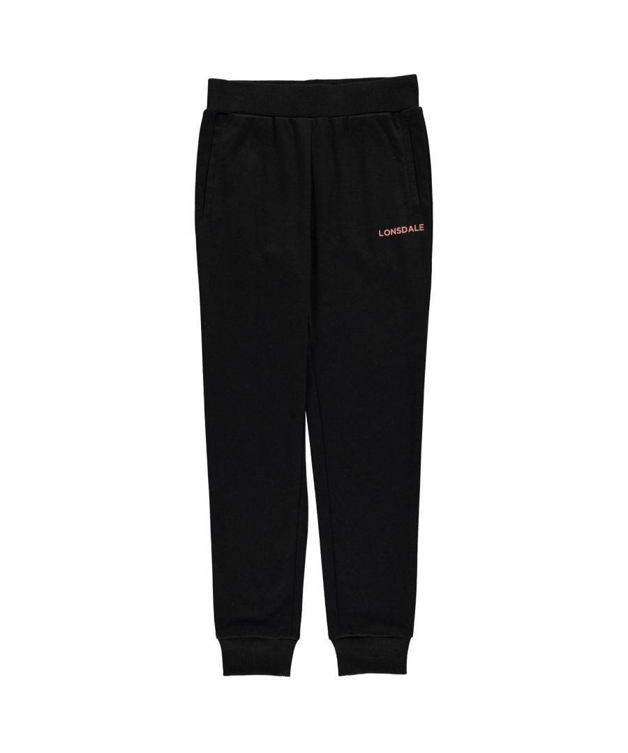 Image for Lonsdale Girls Jogging Bottoms Soft Elasticated Waistband Ribbed Ankle Cuffs