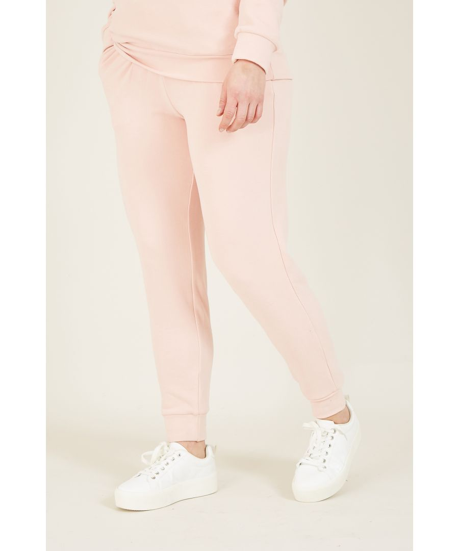 Image for Yumi Blush Pink Velour Lux Joggers With Velve