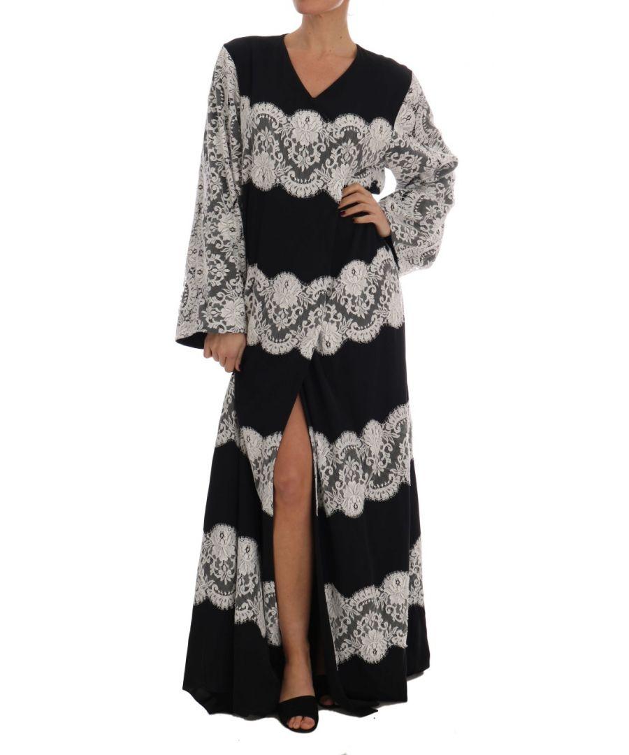 Image for Dolce & Gabbana Black Silk Floral Lace Kaftan Dress