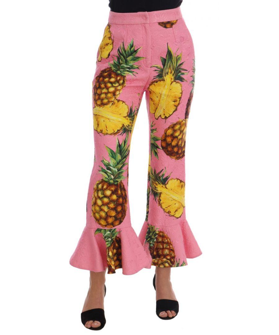 Image for Dolce & Gabbana Multicolor Pineapple Jacquard Flare Pants