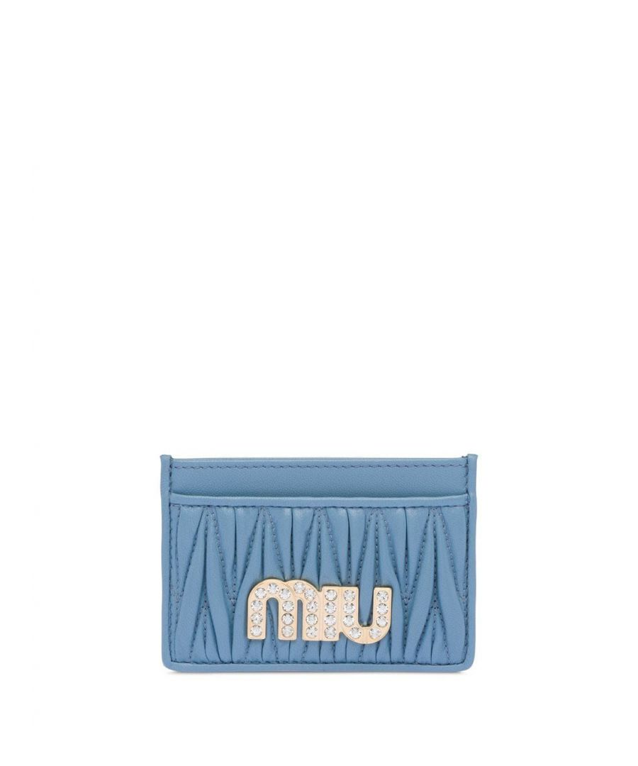 Image for MIU MIU WOMEN'S 5MC2082BSQF0637 LIGHT BLUE LEATHER CARD HOLDER