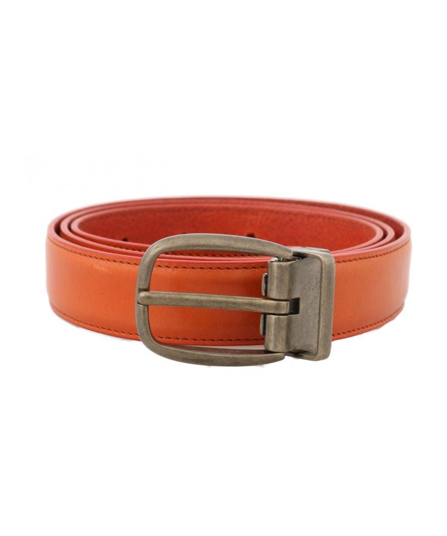 Image for Dolce & Gabbana Orange Leather Gold Buckle Belt