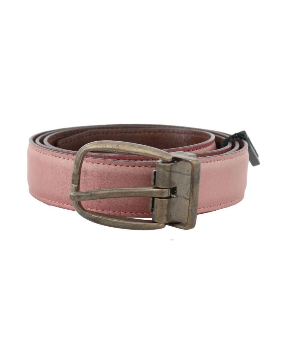 Image for Dolce & Gabbana Pink Shiny Leather Gold Vintage Buckle Belt