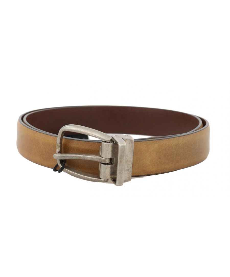 Image for Dolce & Gabbana Yellow Leather Gray Vintage Buckle Belt