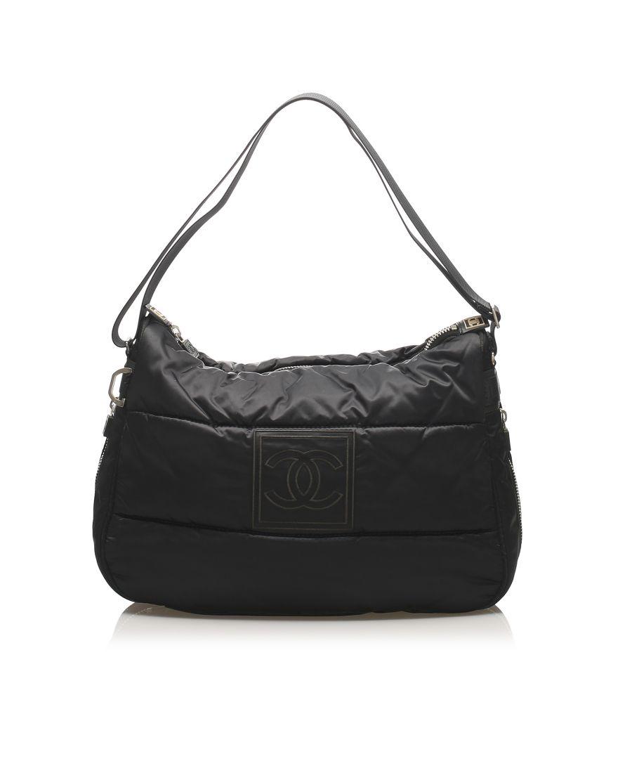 Image for Vintage Chanel Sport Line Chain Shoulder Bag Black