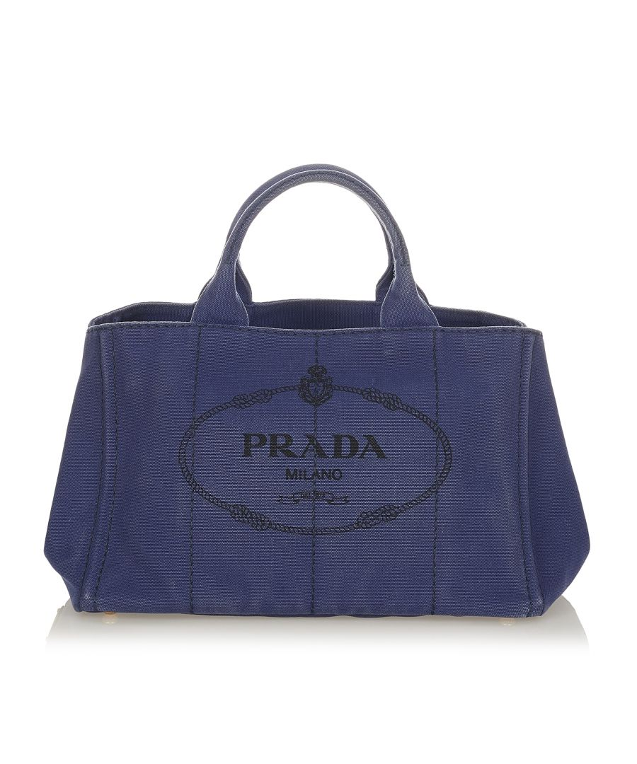 Image for Vintage Prada Canapa Logo Handbag Blue