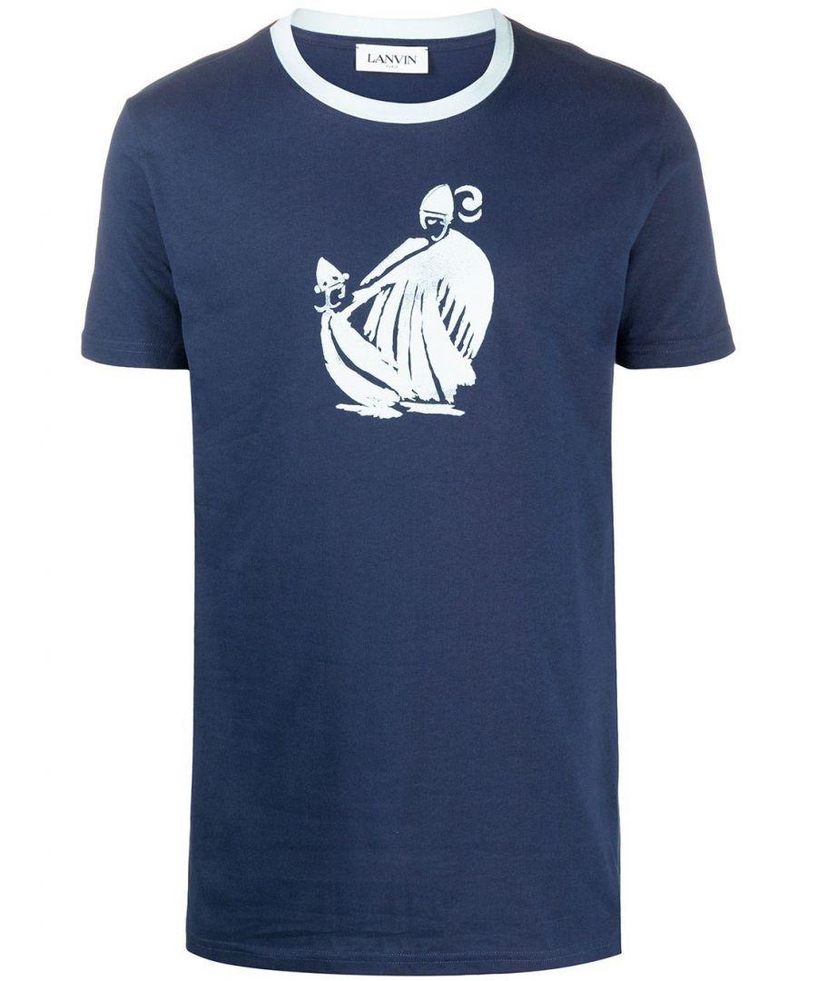 Image for LANVIN MEN'S RMJE0026JR01P2029 BLUE COTTON T-SHIRT