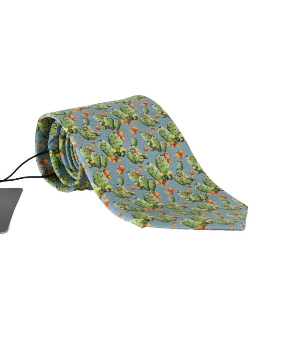 Image for Dolce & Gabbana Blue Silk Cactus Print Tie