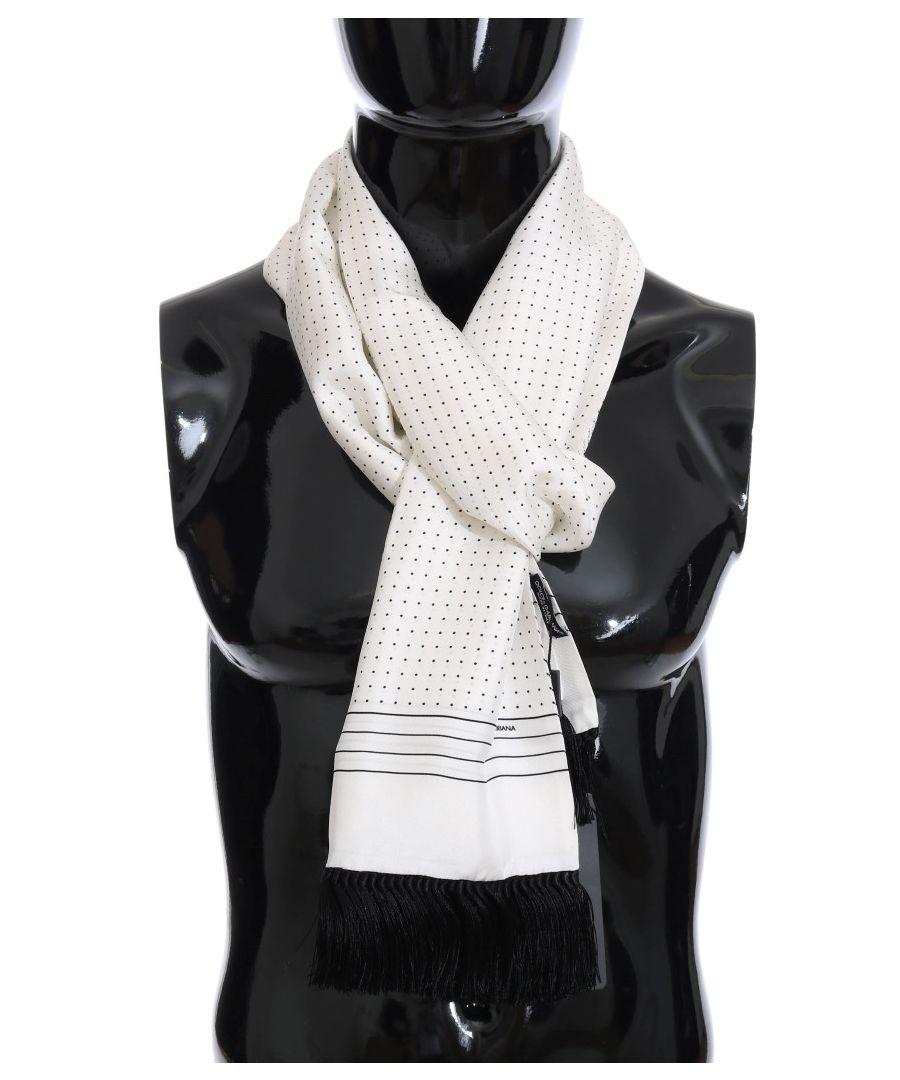 Image for Dolce & Gabbana White Silk Polka Dot Scarf