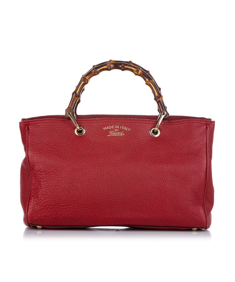 Image for Vintage Gucci Bamboo Shopper Leather Satchel Red