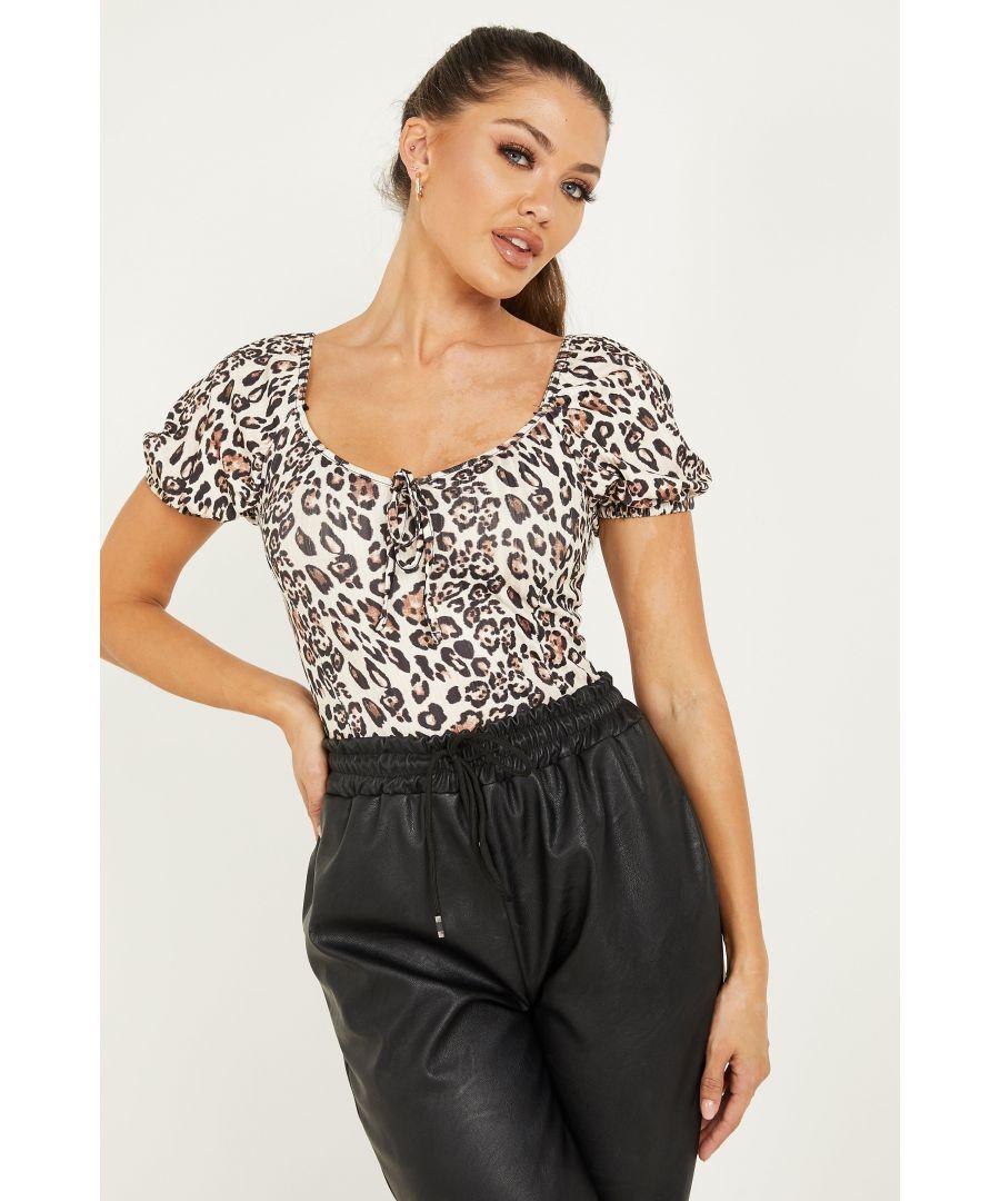 Image for Cream Leopard Print Puff Sleeve Bodysuit