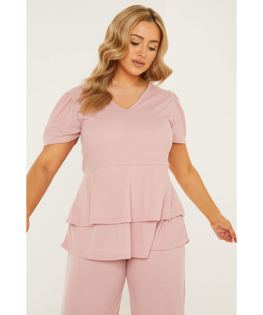 Image for Curve Pink Ribbed Peplum Top