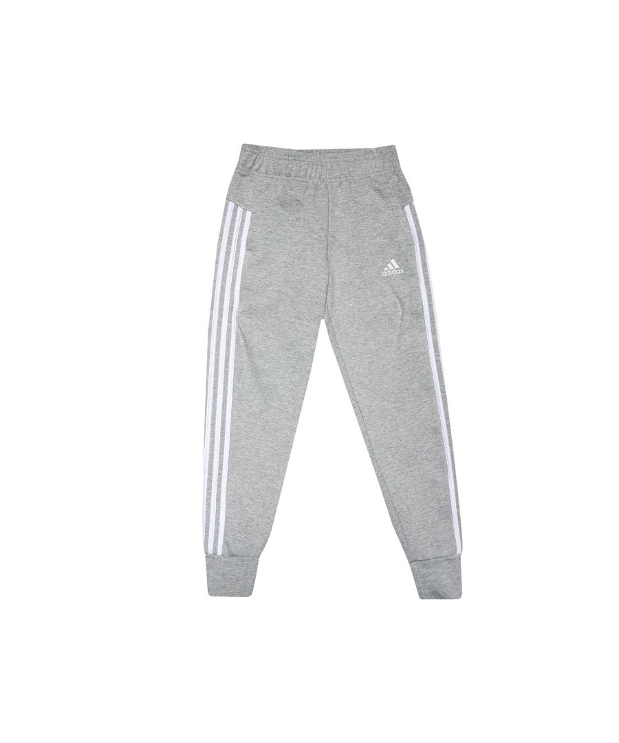 Image for Girls' adidas Junior Must Haves 3-Stripes Tracksuit Bottoms Grey Heather