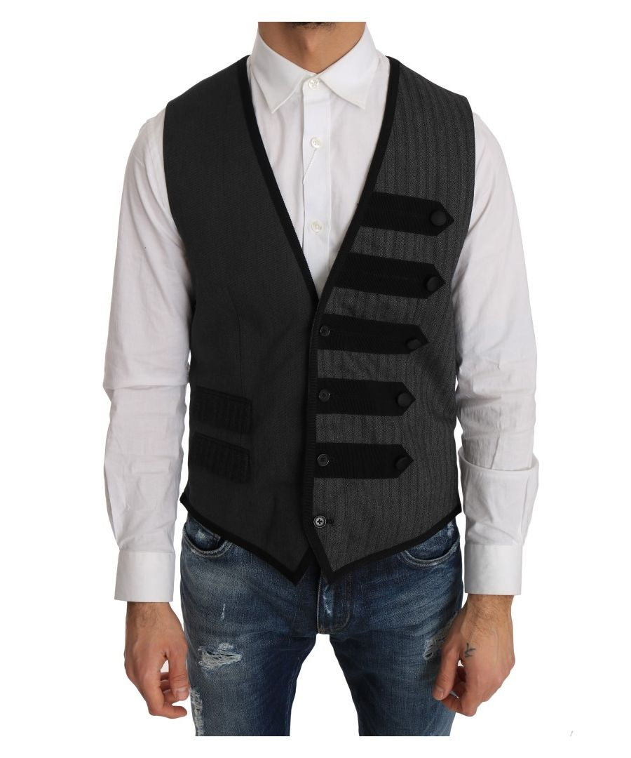 Image for Dolce & Gabbana Gray Wool Patterned Slim Vest