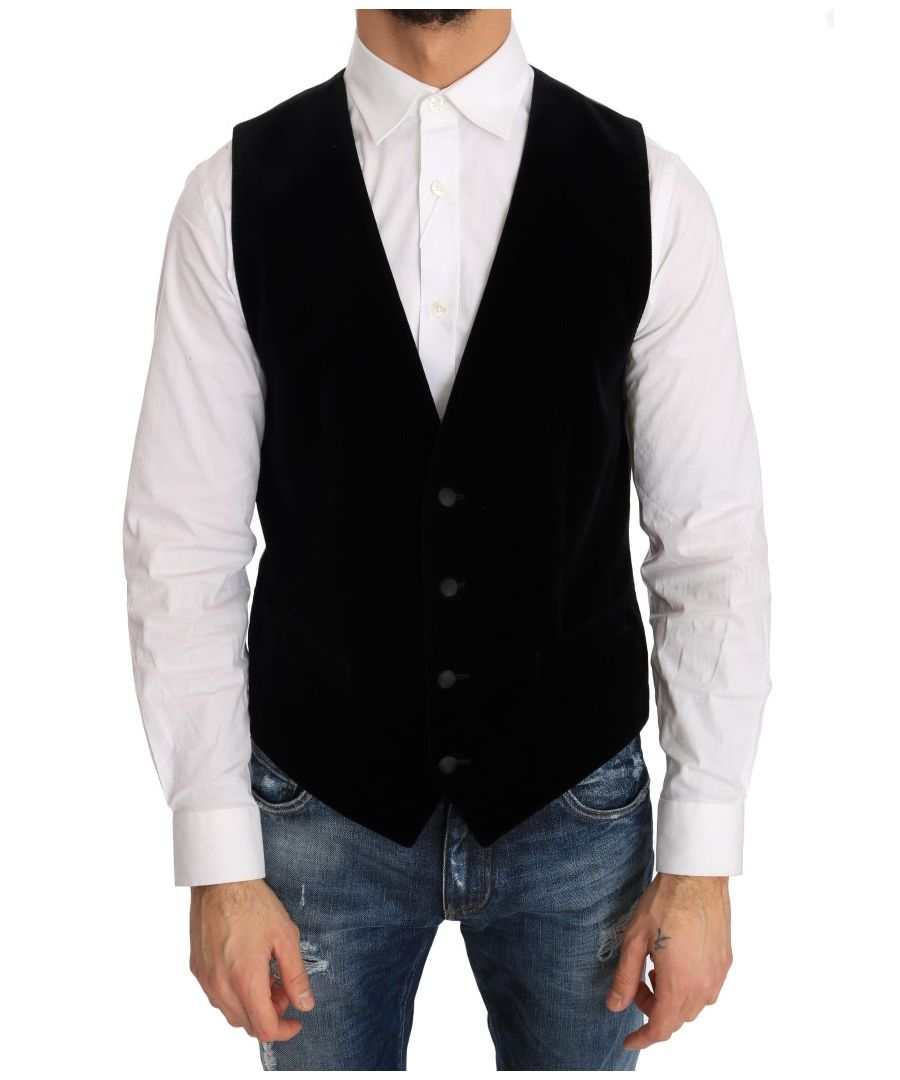 Image for Dolce & Gabbana Black Velvet Formal Cotton Vest
