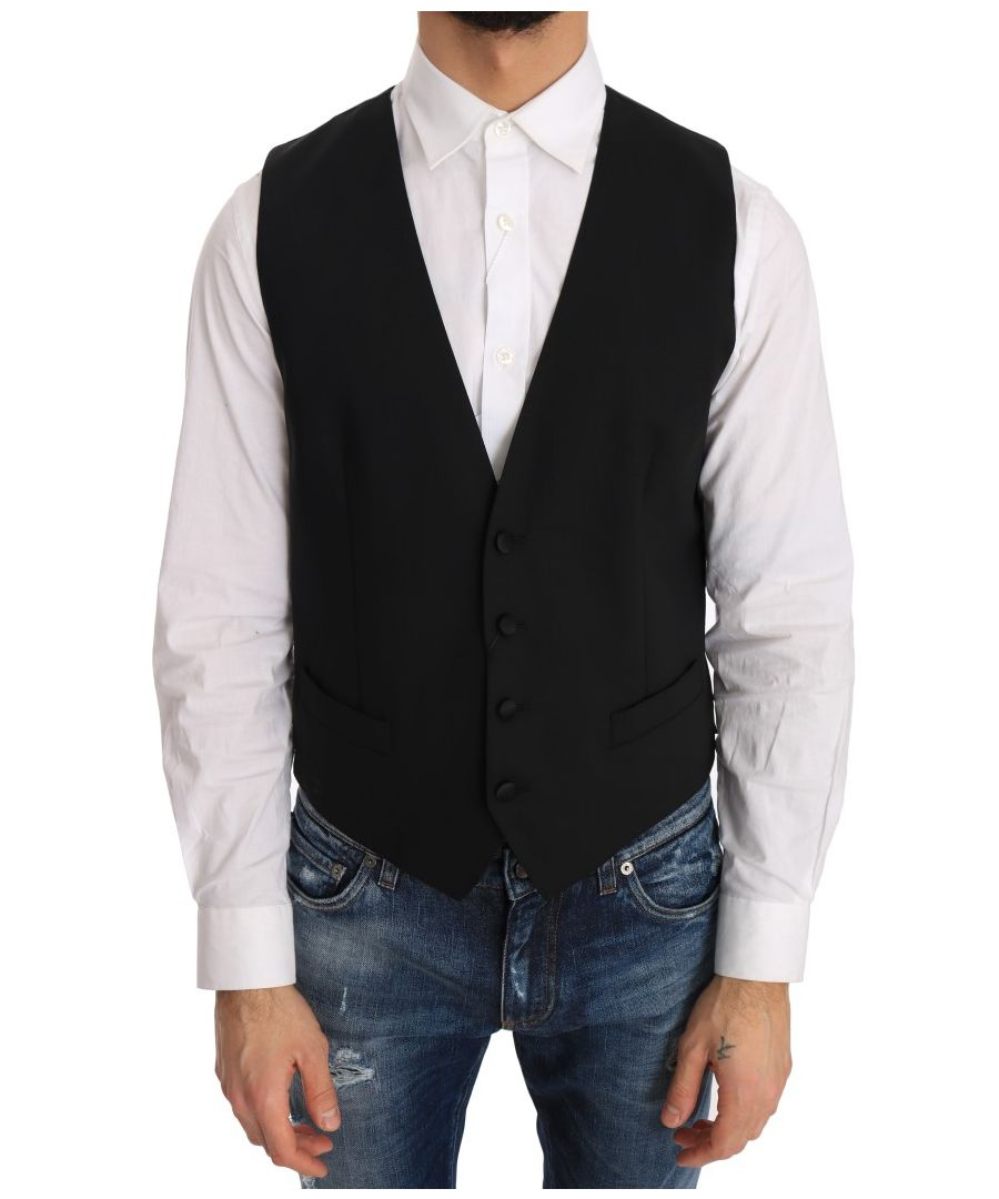 Image for Dolce & Gabbana Black Wool Silk Vest