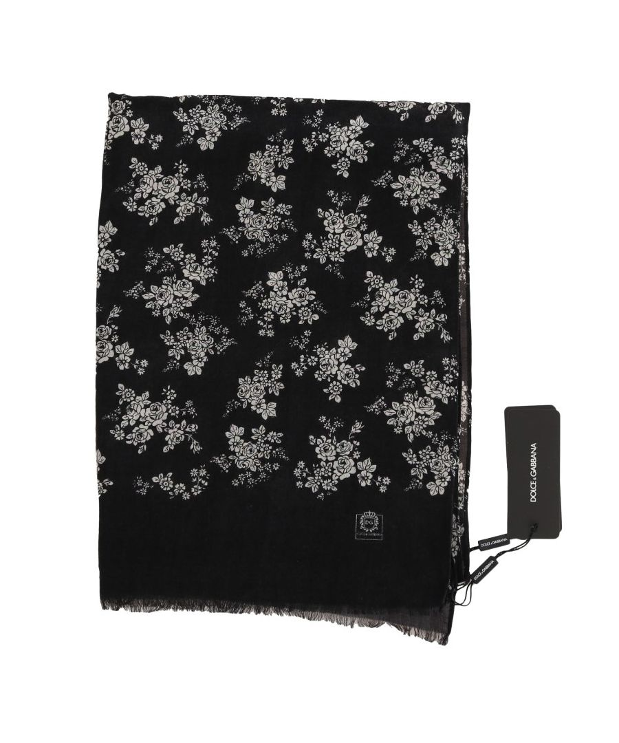 Image for Dolce & Gabbana Gray Cashmere Shawl Floral Scarf