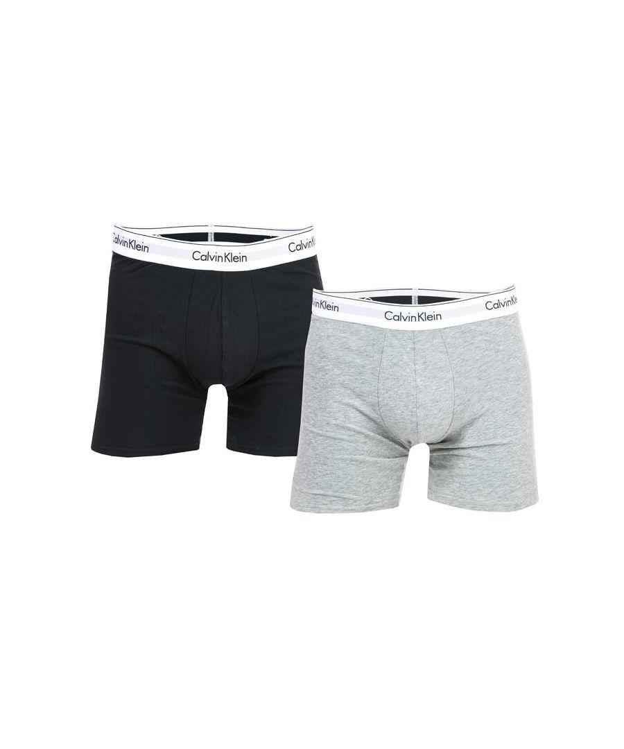 Image for Men's Calvin Klein 2 Pack Modern Cotton Boxer Briefs in Grey black