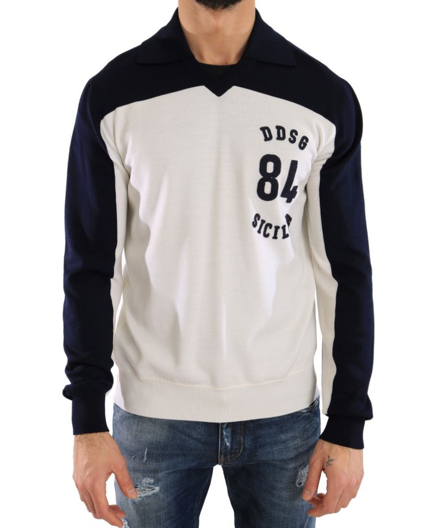 Image for Dolce & Gabbana Blue White Wool Crewneck Pullover Sweater