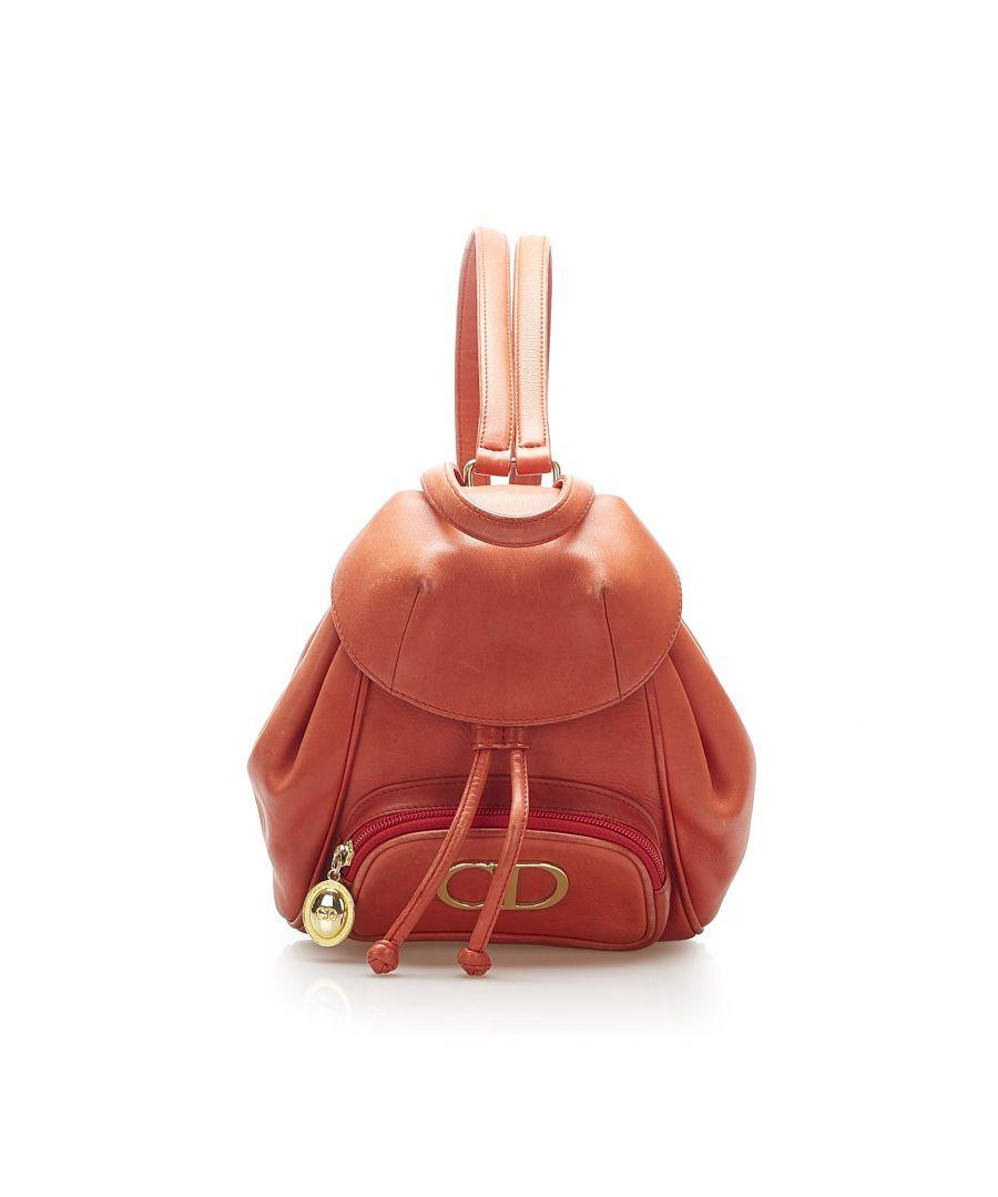Image for Vintage Dior Mini Logo Leather Backpack Orange