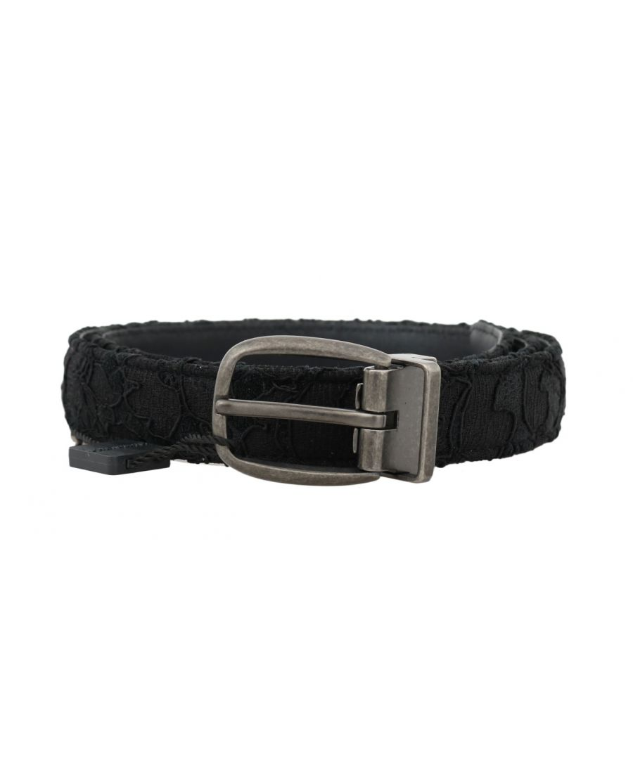 Image for Dolce & Gabbana Black Cotton Lace Leather Belt