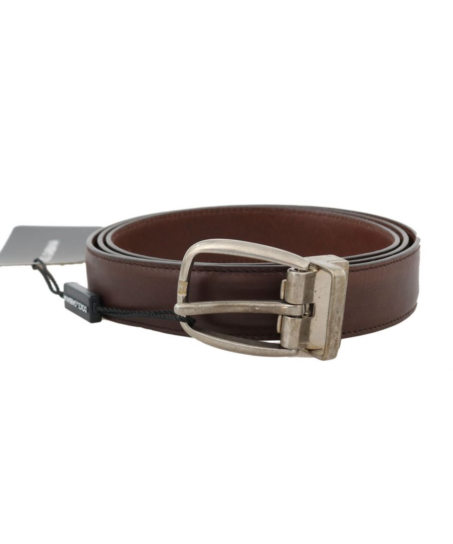 Image for Dolce & Gabbana Brown Leather Gray Oval Buckle Belt