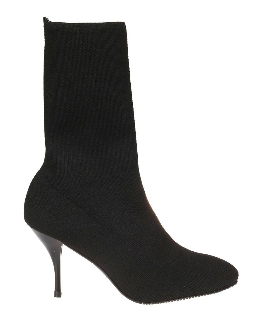 Image for STUART WEITZMAN WOMEN'S VIOLETTA80BLACK BLACK FABRIC ANKLE BOOTS