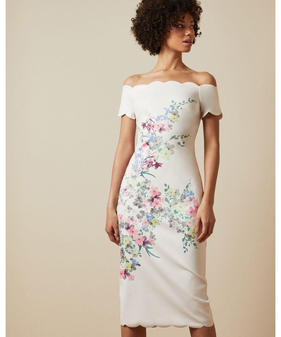 Image for Ted Baker Trixiiy Pergola Bardot Bodycon Dress, Ivory