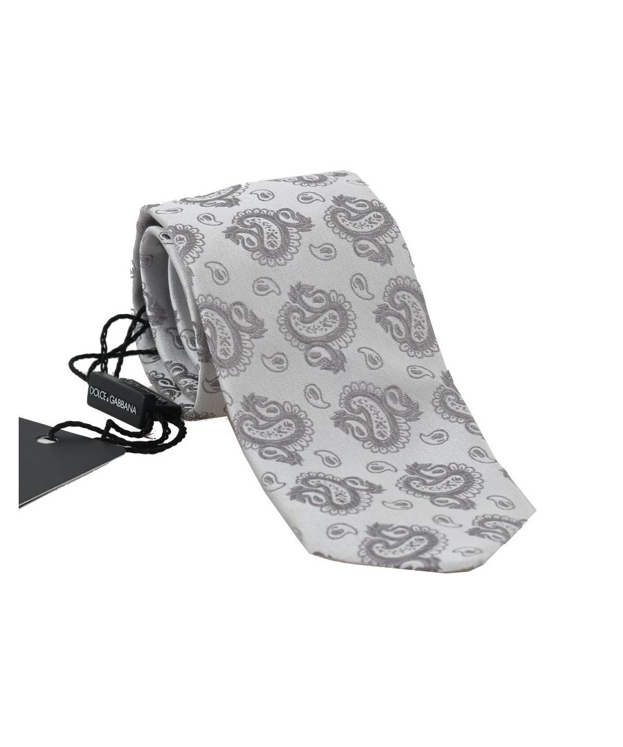 Image for Dolce & Gabbana Gray Silk Paisley Print Classic Tie