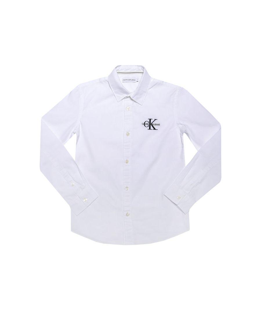 Image for Boys' Calvin Klein Junior Logo Shirt in White
