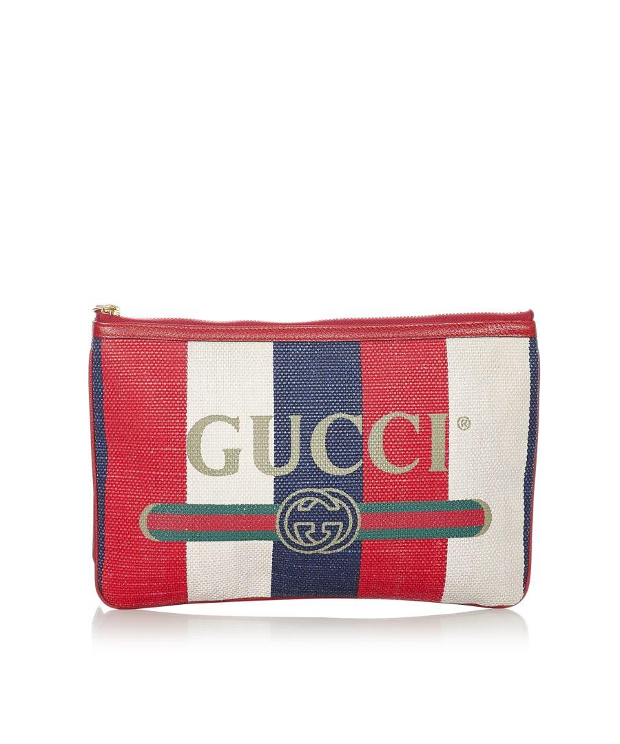 Image for Vintage Gucci Gucci Logo Canvas Clutch Bag Multi