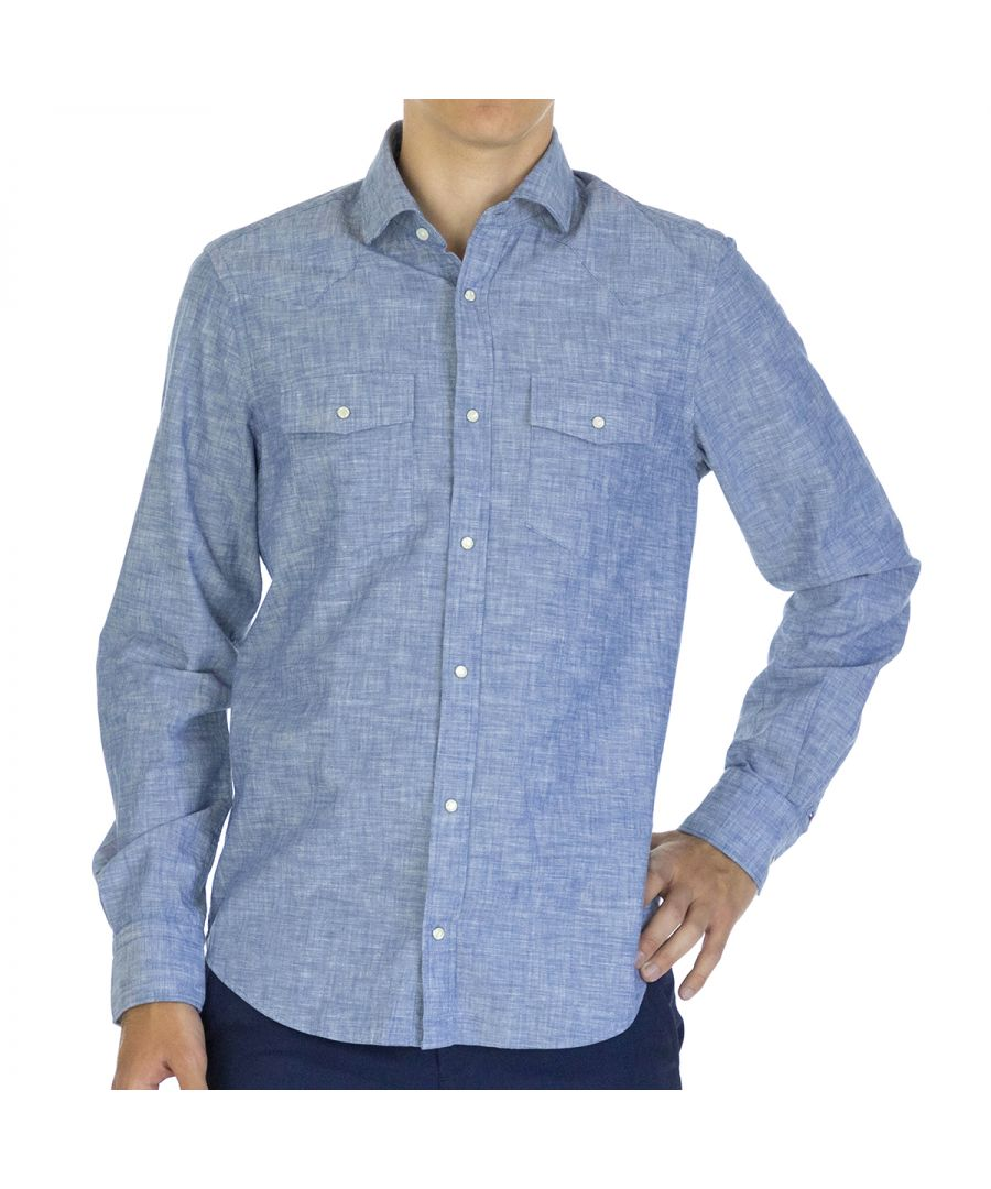 Image for Tommy Hilfiger Men Shirt Chambray Slim Fit  Full sleeve Blue