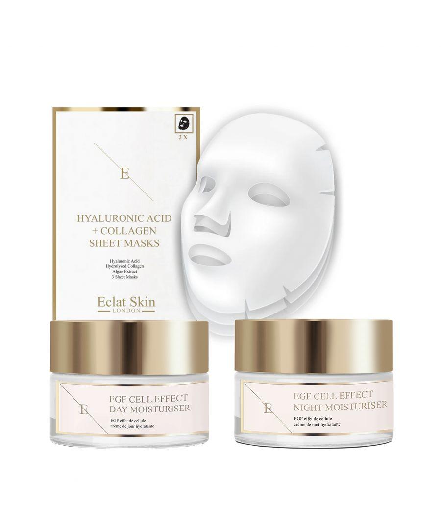 Image for EGF Cell Effect Day Moisturiser 50ml + EGF Cell Effect Night Moisturiser 50ml + Hyaluronic Acid & Collagen Mask - 3 Sheets